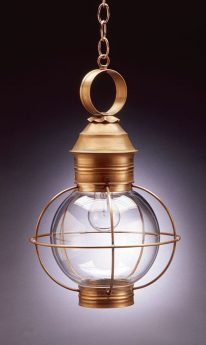"CCL2832 8"" Glass Round Onion Hanging Lantern Caged"