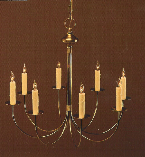 CCL400-8 J-Arm Brass Chandelier