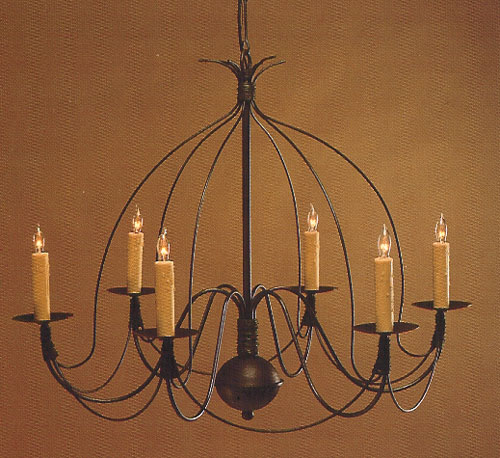 CCL806-6 Brass Six-Arm Birdcage Chandelier