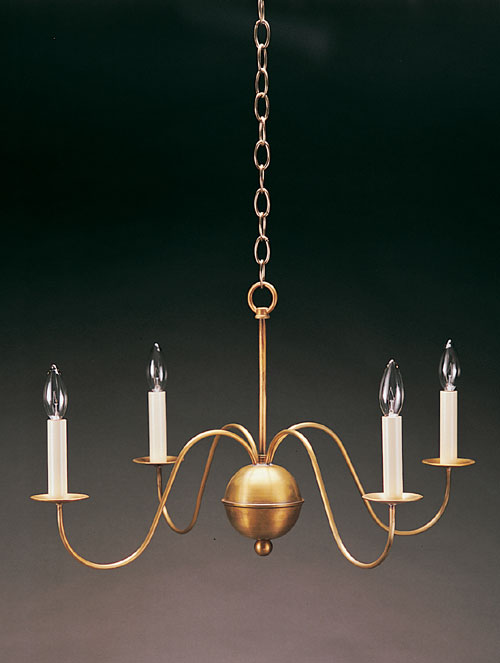 CCL949 Four S-Arm Brass Chandelier