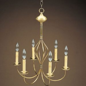 CCL964 Six Light J-Arm Bulge Brass Chandelier
