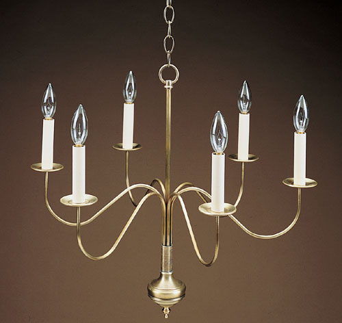 CCL965 Six S-Arms Brass Chandelier