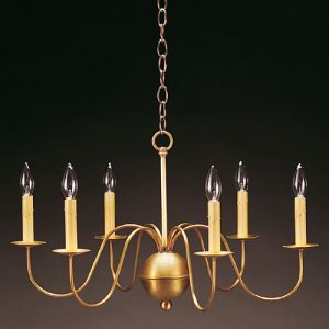 CCL969 Six S-Arm Brass Chandelier