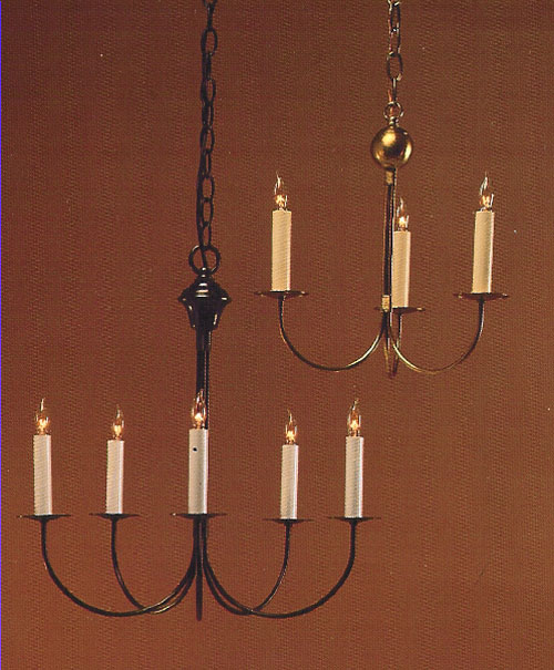 CCL400-5 J-Arm Brass Chandelier