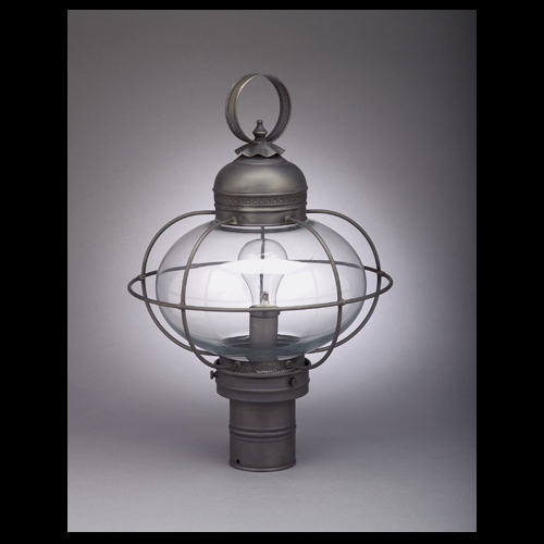 "CCL2543G 10"" Glass Onion Post Lantern with Decorative Galley"