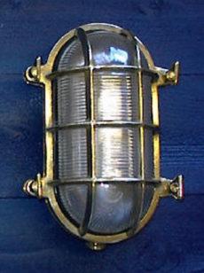 """CCL4070 9.5"""" Brass Oval Bulkhead Cage Light"""