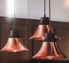 CCLNWL5275 Copper or Brass with Oak Bell Shaped Pendant